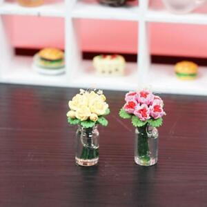 1-12-doll-house-miniature-clay-flower-yellow-pink-rose-Low-Price