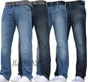 MENS-CROSSHATCH-STRAIGHT-LEG-DARK-BLUE-JEANS-ALL-WAIST-SIZES-JEANBASE-NW1