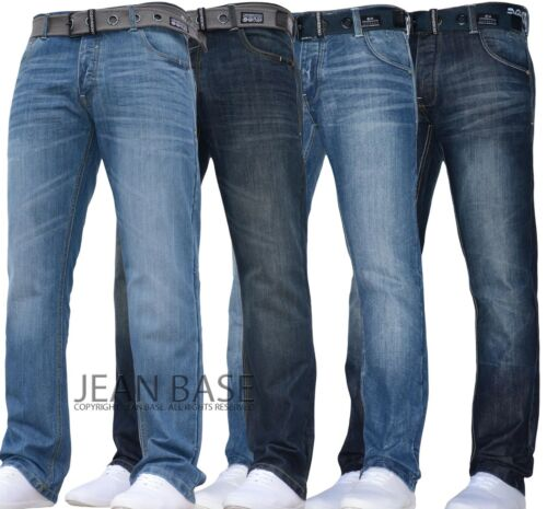 NUOVA linea uomo Crosshatch A Gamba Dritta Blu Scuro Jeans Tutti Girovita Taglie jeanbase NW1