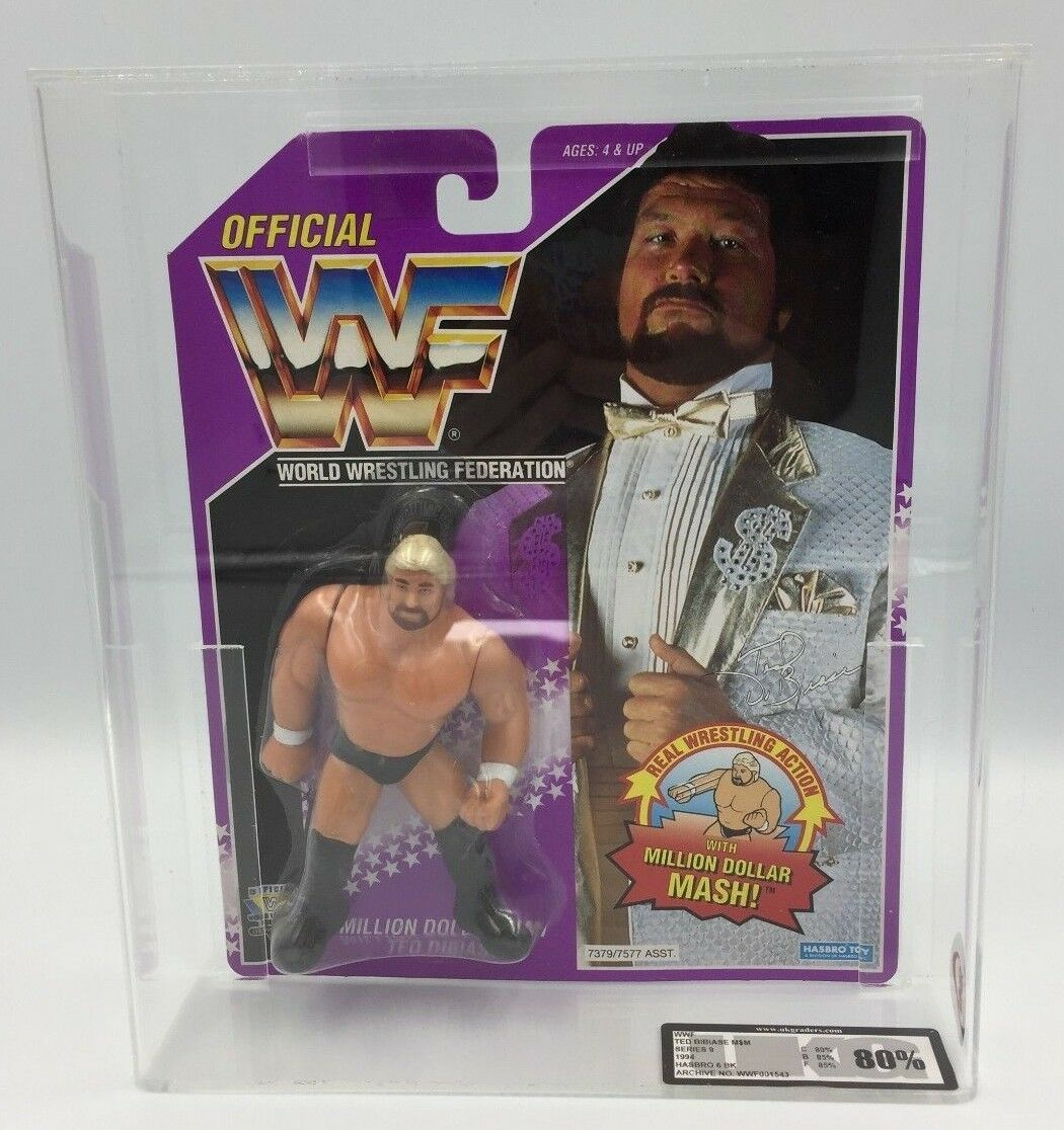 WWF Hasbro Ted Dibiase Million Dollar Man Carded  UKG 80% not AFA graded-RARE