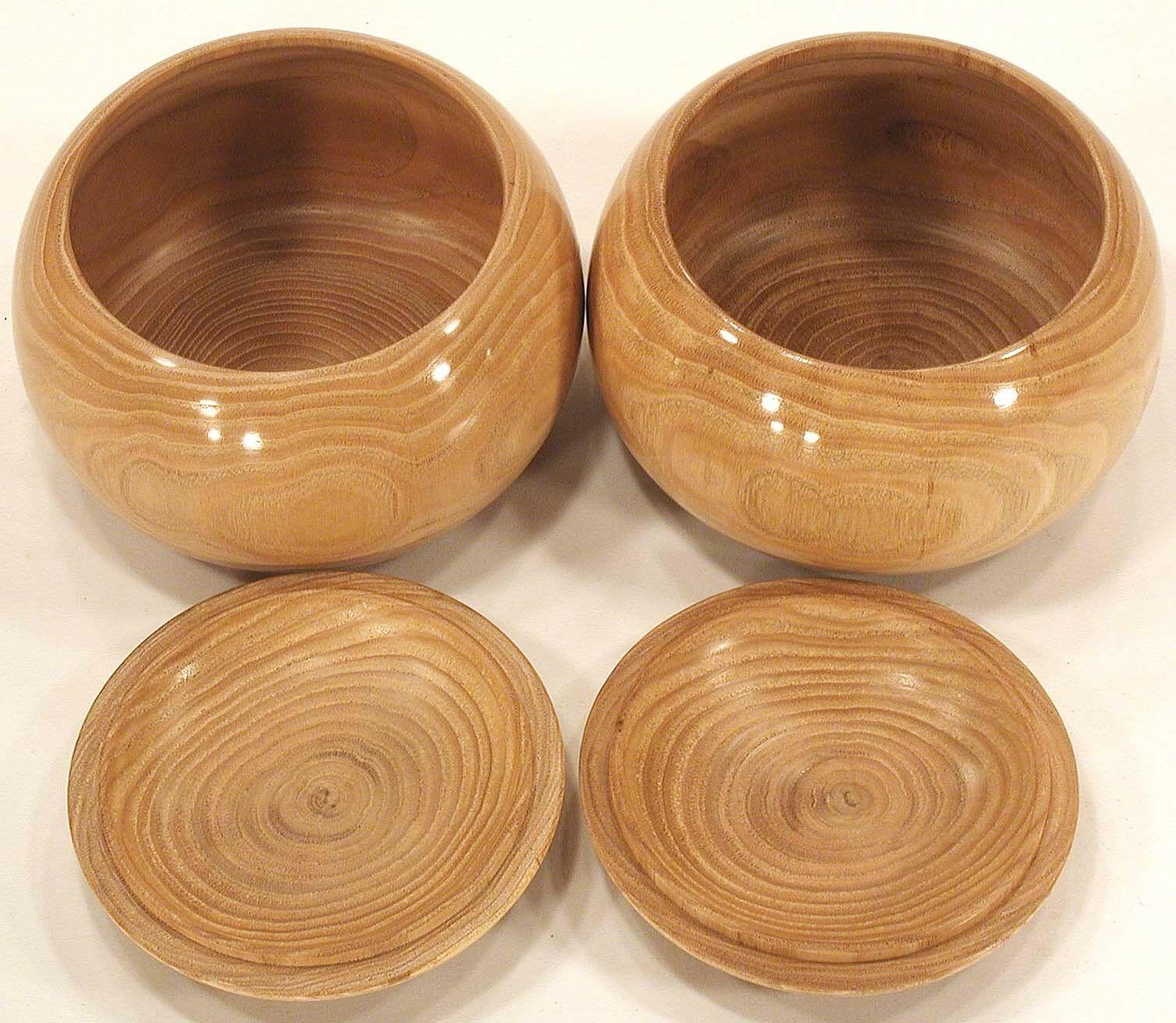 MakeOffer Japanese Board Game of Go Bowls KURI Wooden Large Igo light marróne