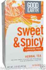 NEW GOOD EARTH TEAS SWEET & SPICY HERBAL TEA CAFFEINE FREE NATURAL DAILY CARE