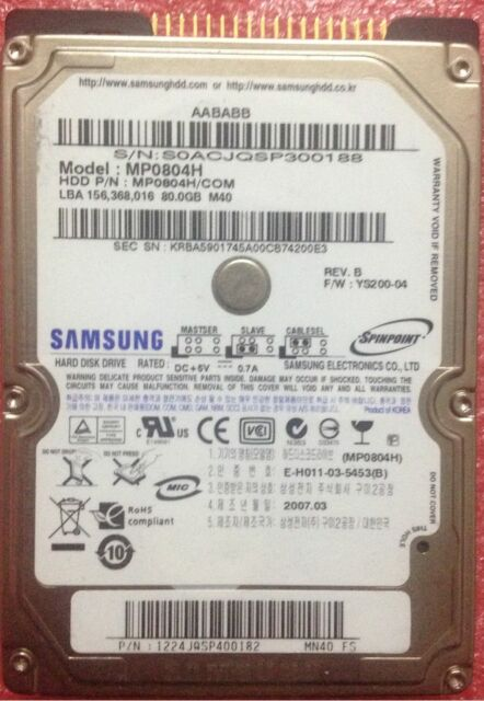 """SAMSUNG 80 GB 80GB 5400 RPM 8M 2.5"""" (MP0804H) IDE PATA HDD For Laptop Hard Drive"""