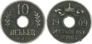 German East Africa 10 Heller 1909 J Almost VF (48127)
