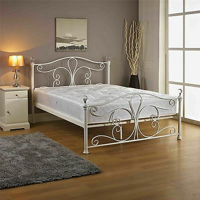 Jerome 135cm 4FT6 White Metal Double Bed Frame Bedstead with crystal balls