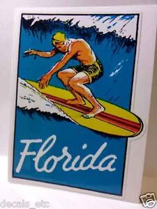 Florida-Surfing-Vintage-Style-Travel-Decal-Vinyl-Sticker-Luggage-Label