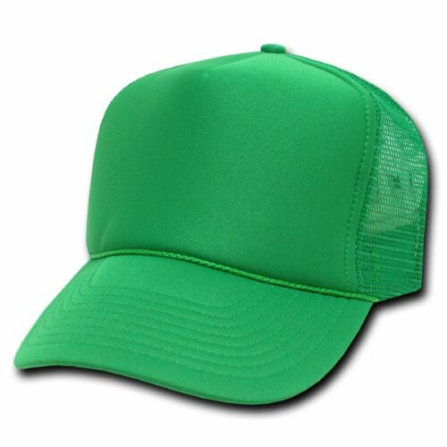 Solid Kelly Green Classic Mesh Foam Trucker Vintage Baseball Hat Hats Cap Caps