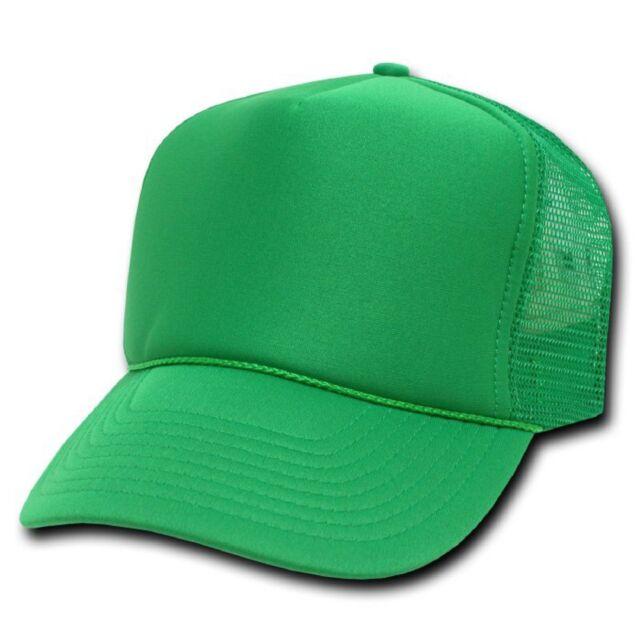 4d7b1a3a Solid Kelly Green Classic Mesh Foam Trucker Vintage Baseball Hat Hats Cap  Caps