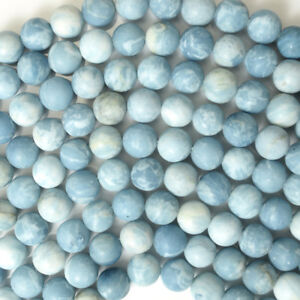 Matte-Blue-Larimar-Quartz-Round-Beads-15-5-034-Strand-4mm-6mm-8mm-10mm-12mm