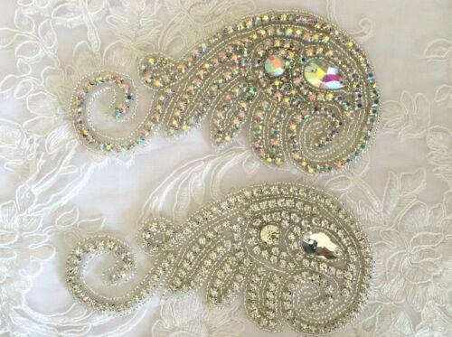 BEAUTIFUL CRYSTAL MOTIF DIAMANTE APPLIQUE PATCH IRON ON BRIDAL DRESSES