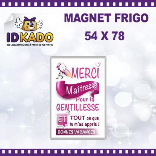 Magnet Rectangulaire personnalisée MERCI MAITRESSE POUR TA GENTILLESSE   MA-90
