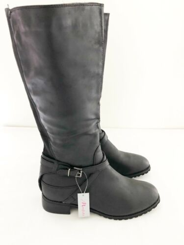 New Ladies Manfield Black Faux Leather Mid Rise Boot UK Size 7