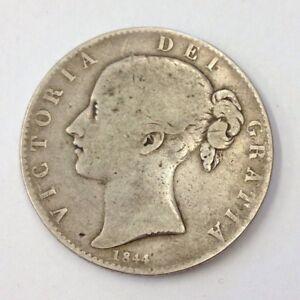 Antique-Victorian-1844-Silver-Crown-Coin