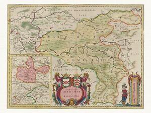 Alte-Dortmund-Deutschland-Landkarte-Blaeu-ca-1655-Papier-Leinwand