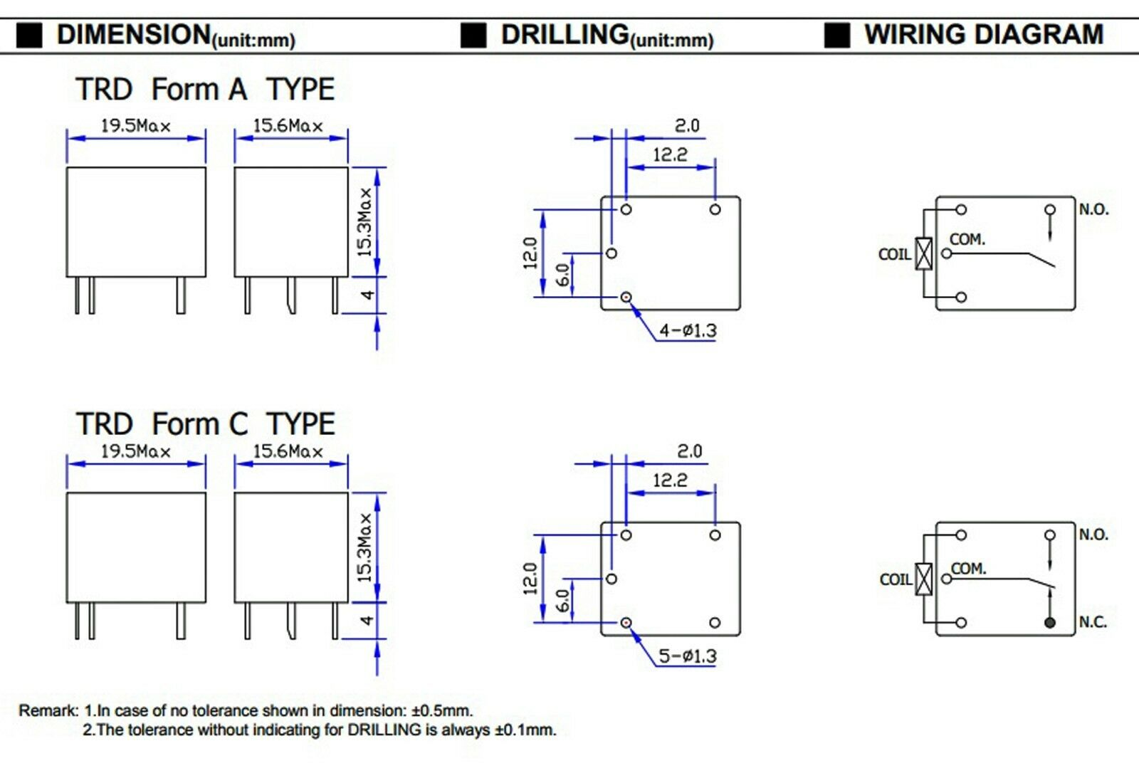 Tnisesm 6 St/ück DC 12V Spule SPST PCB Relais 5 Poliges Mini Leistungsrelais T73-5P-12V-B
