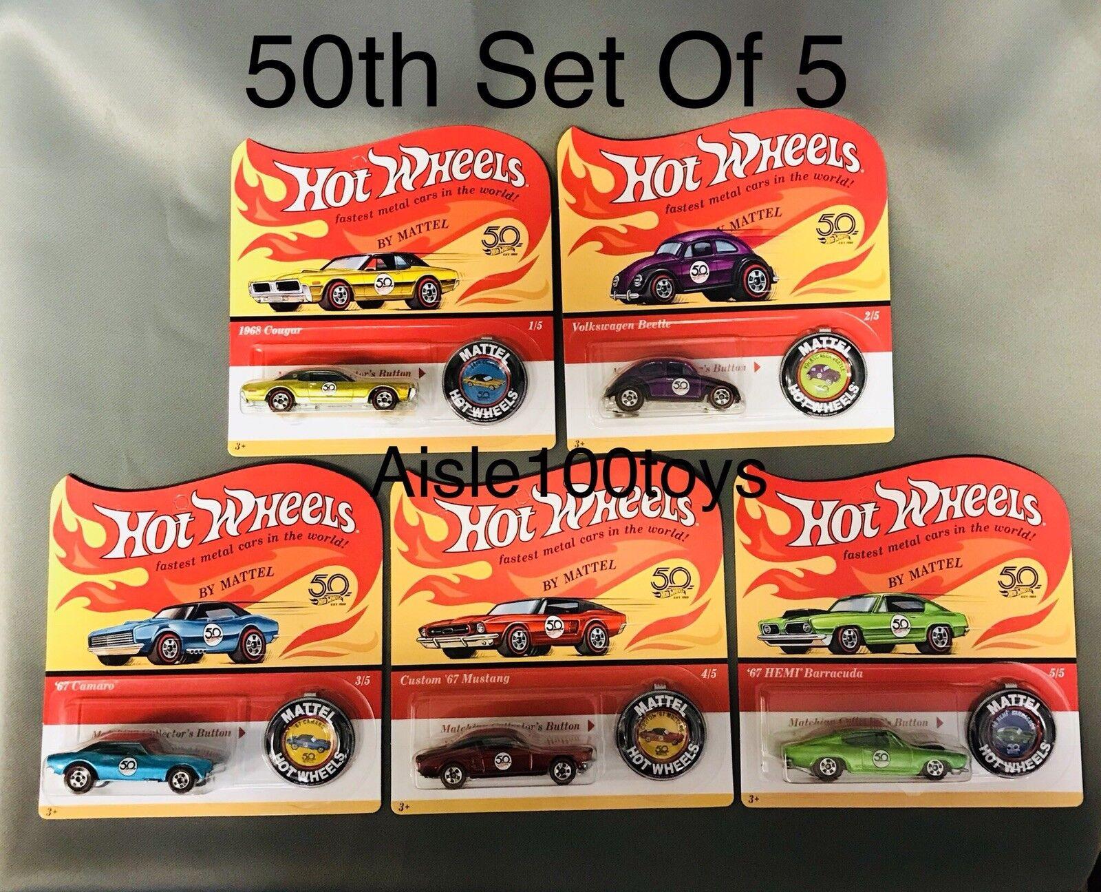 Hot Wheels 50th Anniversaire rougeline Ensemble de 5,'67 CAMARO, Mustang, Beetle VW, 2018