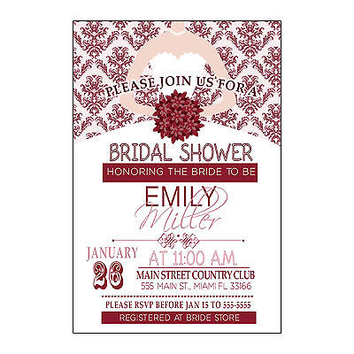 30 Damask Invitation Cards Orange Fall Dress Bridal Shower Personalized  A1