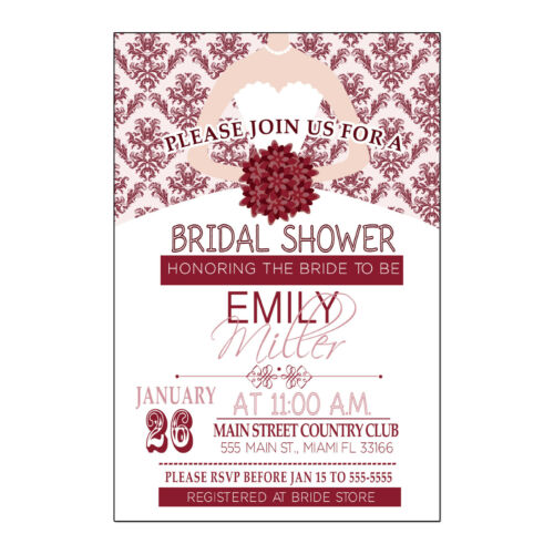 30 Damask Invitation Card Wedding Bridal Shower Ruby Red Personalized A1