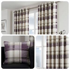 Fusion-BALMORAL-CHECK-Plum-Purple-Tartan-100-Cotton-Eyelet-Curtains-amp-Cushions