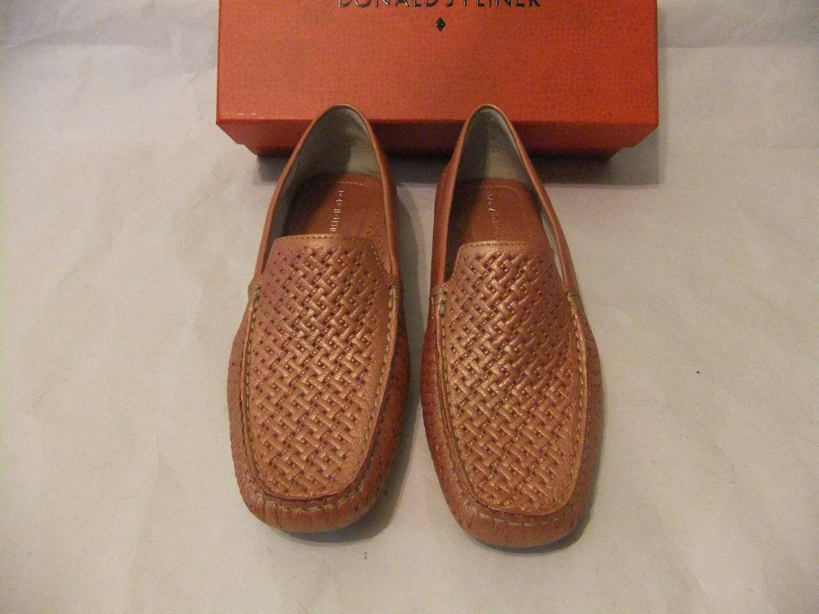 DONALD J PLINER Lula Pink Metallic Leather Loafer Moccasin Size 9 NIB $198