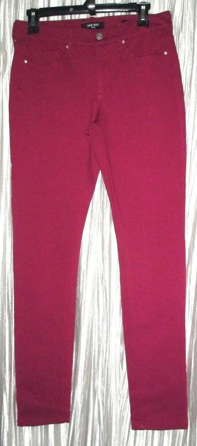 New NINE WEST Jeans, Dk. Fuchsia  Gramercy Skinny , Mid Rise,Jean Pant, 6R