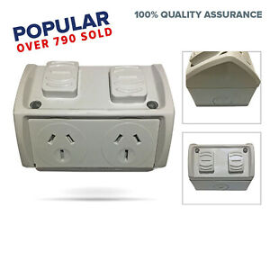 Weather-Proof-Double-Power-Point-GPO-10-Amp-Socket-Waterproof-gpo-Outdoor-NEW