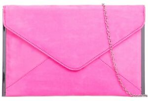 sold worldwide los angeles value for money Details about Pink Clutch Bag Faux Suede Evening Bag Ladies Neon Hot Pink  Silver Tone Envelope