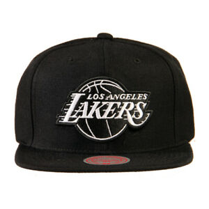 Mitchell and Ness Los Angeles Lakers Black White Logo Snapback Hat Cap