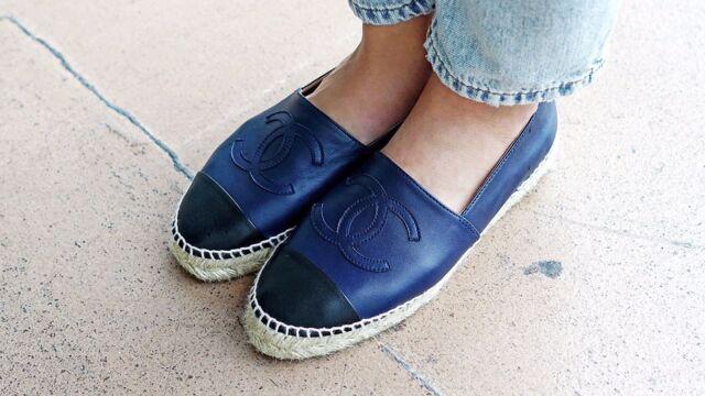 NIB Chanel Navy Blue Black Toe Leather Lambskin Espadrilles Shoes Flats EU 37-39