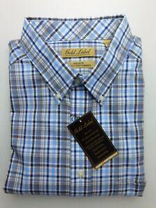 NWT-Gold-Label-Roundtree-Yorke-Blue-Brown-Check-Men-Shirt-Big-Tall-T-2XLT-2XB