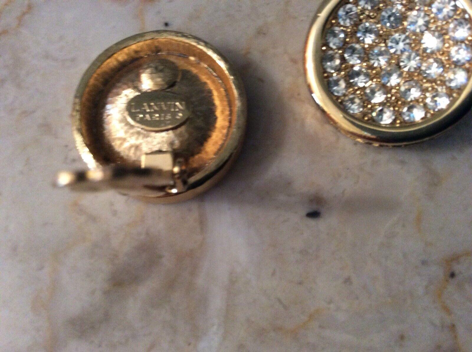 Vintage Lanvin Paris Gold Tone Rhinestone Pave Cl… - image 7