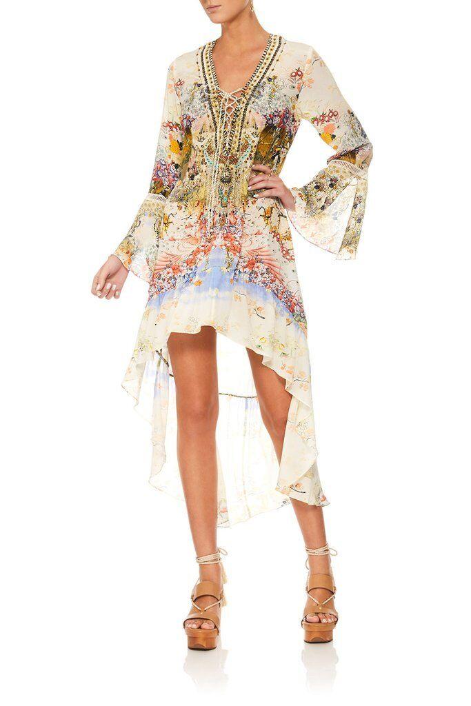 New CAMILLA FRANKS SILK SWAROVSKI LADY LABYRINTH DRESS WITH HIGH LOW HEM XL 16