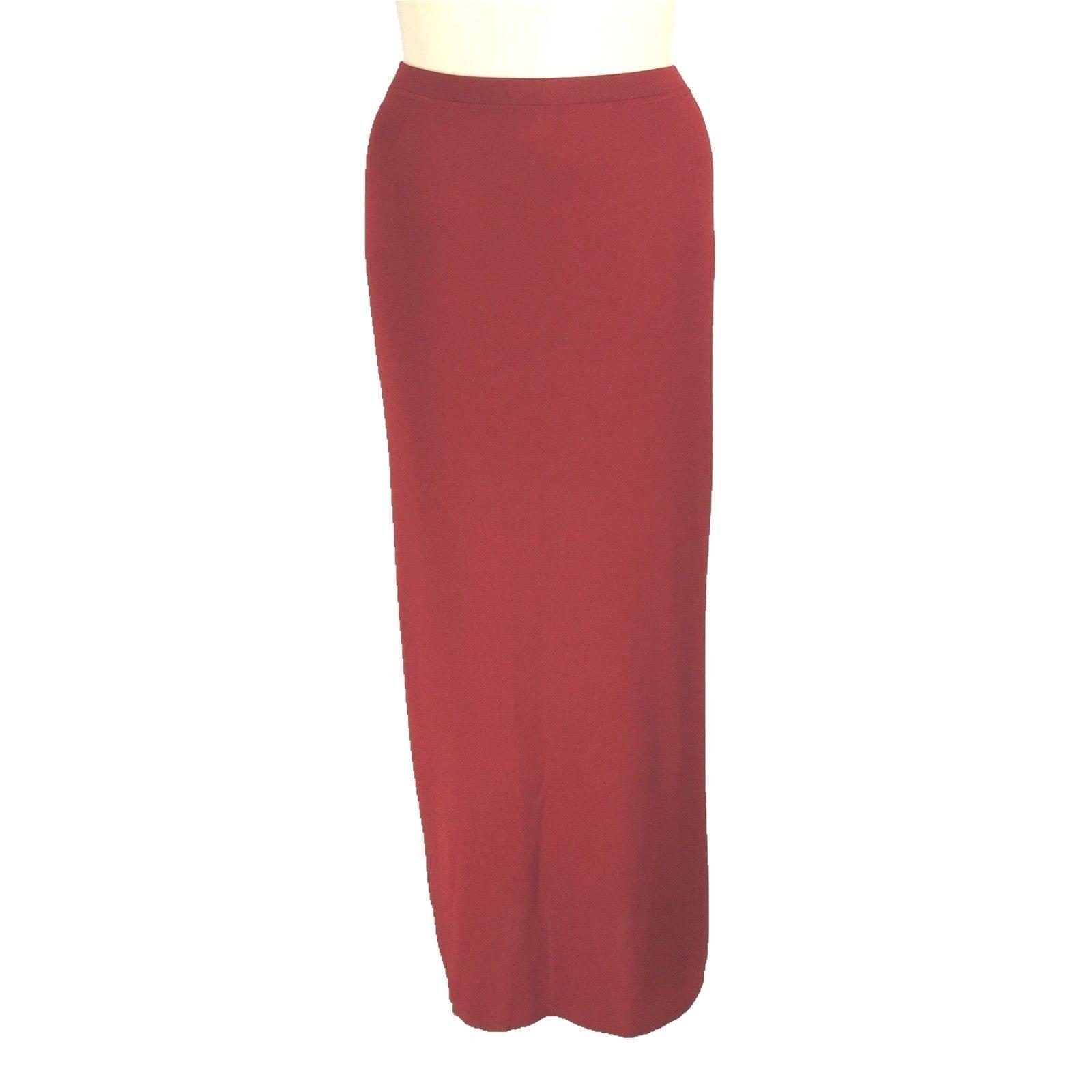 Plein Air XL Knit Dark Red Pencil Skirt Maxi Long Travel Side Slit Washable LN