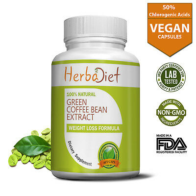 Pure Green Coffee Bean Diet 50 Extract Capsules Weight Loss Fat
