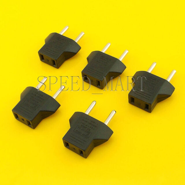 5 X US To EU European Travel Charger Power Adapter Converter Wall Plug Home