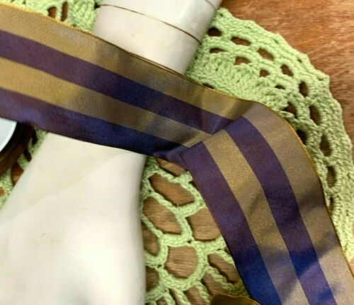 """Vintage Ribbon wire 2/"""" Stripe Acetate Rayon Olde Gold Plum 1yd Made in France"""