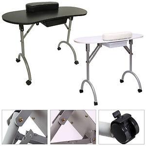 Table-de-manucure-pliante-noire-blanche-Grand-avec-roulettes-Sac-De-Transport