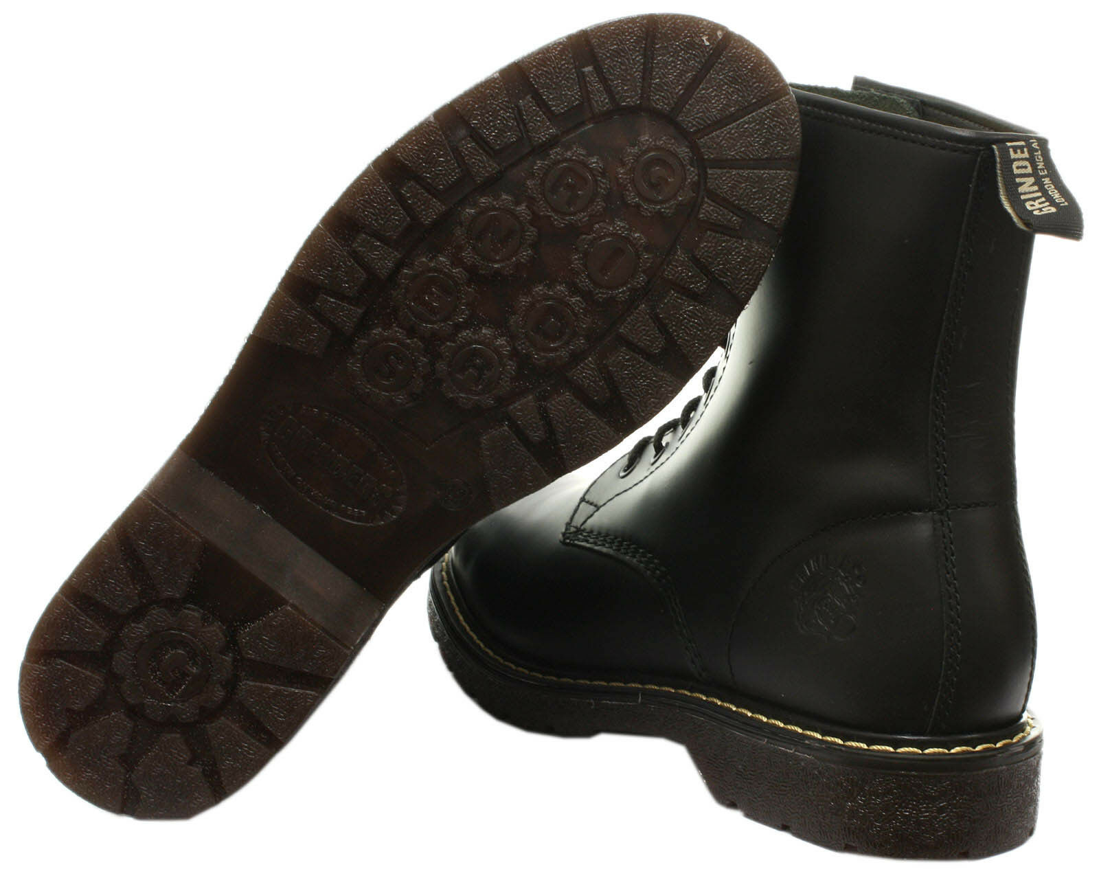 New Grinders Cedric 8 Eyelet Derby Lace Black Mens Ladies Mid Calf Leather Boots