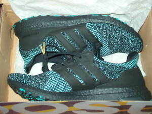 Details about adidas UltraBOOST 4.0 Black True Green Men Size 10 Shoes Sneakers EE3733 RARE