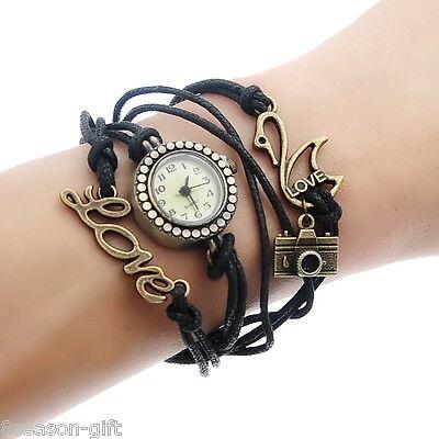 1PC New Leather Watch Bracelet Bronze Love Swan Camera 18.5cm B81939