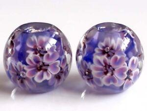 10pcs-exquisite-handmade-Lampwork-glass-beads-blue-purple-flower-14mm
