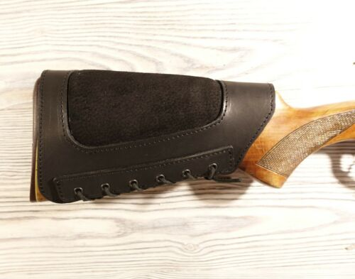 Rifle Ammo Cartridge Buttstock Holder Cover Cheek Rest Padded Genuine Leather