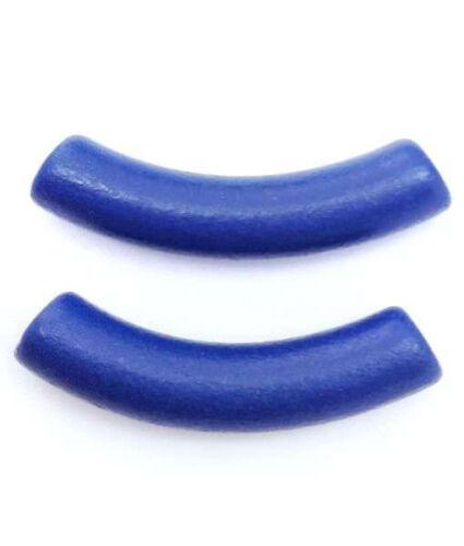 Céramique Tube Bleu Mat 28 mm 2 Pièces Céramique Perles