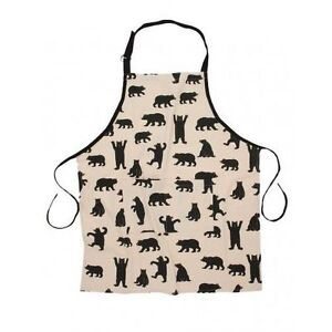 Hatley-Cotton-Bib-Chef-039-s-Apron-BLACK-BEARS-ON-NATURAL-w-Pocket-Barbecue-Unisex