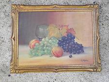 P.MEJEAN Huile sur Panneau Nature Morte aux Fruits début 20ème Tableau Peinture