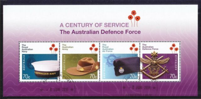 AUSTRALIA 2014 CENTENARY OF AUSTRALIAN DEFENCE FORCE SOUVENIR SHEET OF 4 STAMPS