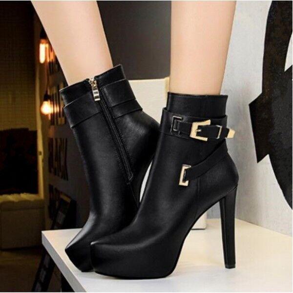 stivali stivaletti bassi scarpe stiletto 12 cm nero eleganti simil pelle 9480