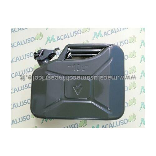 Tanica in metallo 10 litri verde serbatoio bidone recipiente benzina miscela gas