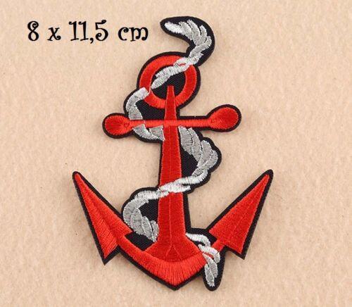 ÉCUSSON PATCH Applique thermocollant ** 8 x 11,5 cm ** Grande ANCRE MARINE Rouge