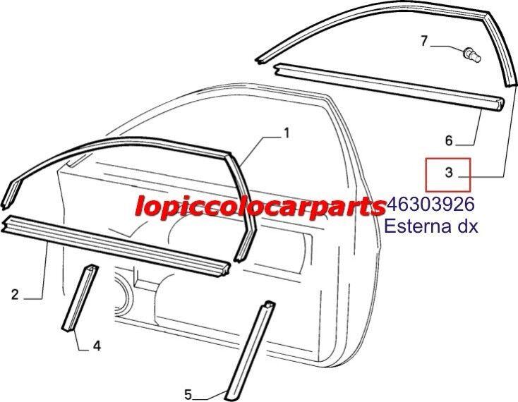 46303926 Guarnizione Cristallo Anter dx  al Fiat Coupè dal 1994 al  2000 Originale ea84c7
